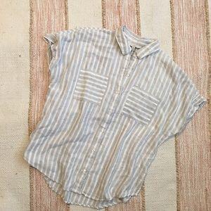 Lucky Brand Stripe Cap Sleeve Top